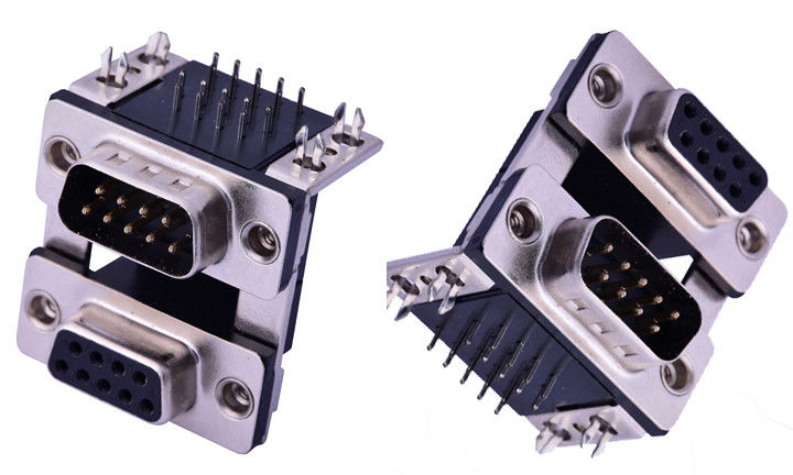 Two Rows Db9 Male Connector , 9 Pin D Type Male Connector PBT Material